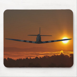 Spitfire flies into the sunrise mouse pad