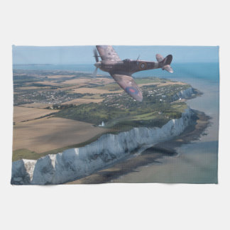 Spitfire over the English coast. Tea Towel