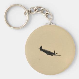 Spitfire Trainer In Flight Basic Round Button Key Ring