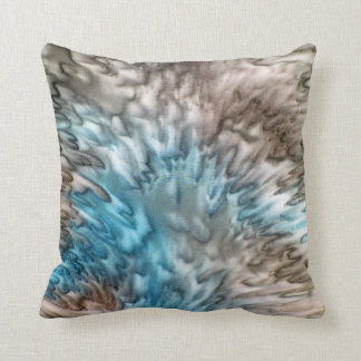 'Splash 2' Aqua Taupe Silk Abstract Cushion