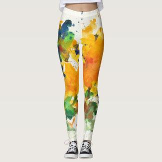 Splash Art Watercolor Colorful Abstract Leggings