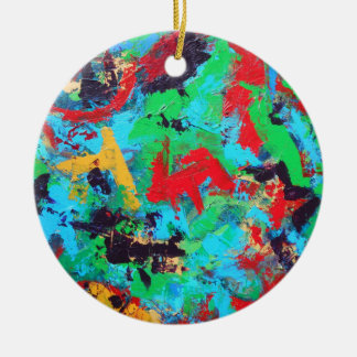 Splash-Hand Painted Abstract Brushstrokes Ceramic Ornament