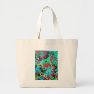 Splash-Hand Painted Abstract Brushstrokes Large Tote Bag