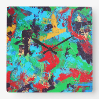 Splash-Hand Painted Abstract Brushstrokes Square Wall Clock