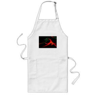 Splash of Red Lily Floral Fractal Design Long Apron