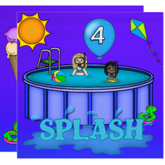 """Splash"" Pool Party 4th Birthday Card"