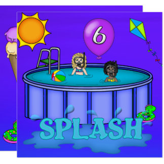 """Splash"" Pool Party 6th Birthday Card"