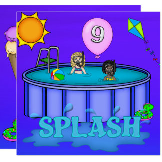"""Splash"" Pool Party 9th Birthday Card"