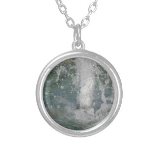 Splashes of fountain water in a sunny day silver plated necklace
