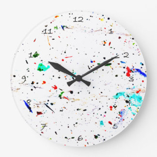 Splashes of Paint Abstract Pattern Spotty Large Clock