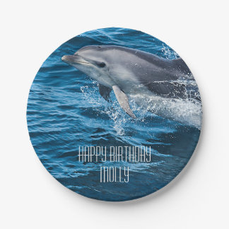 Splashing Dolphin Personalized Birthday Party Paper Plate