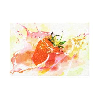 Splashing strawberry artistic design canvas print