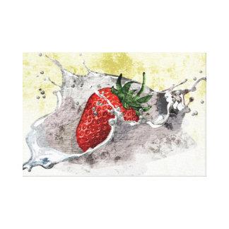 Splashing strawberry artistic design stretched canvas print