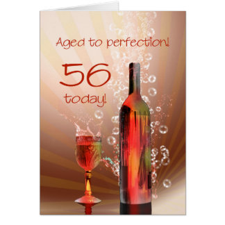Splashing wine 56th birthday card