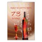 Splashing wine 73rd birthday card