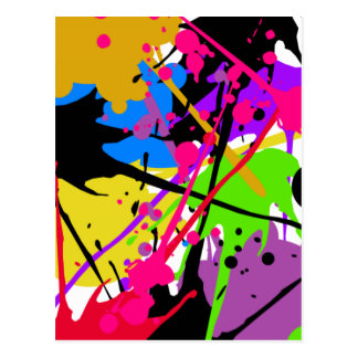 Splatter art graffitti to power postcard