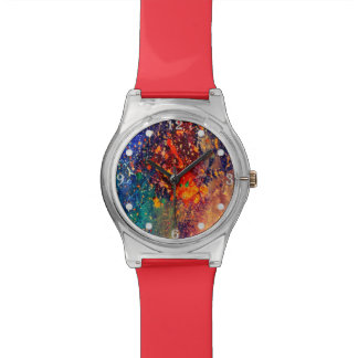 Splatter   Colorful Rainbow Abstract Psychedelic Watch