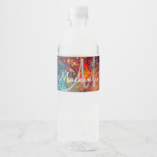 Splatter   Colorful Rainbow Abstract Psychedelic Water Bottle Label
