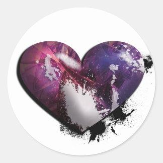 splatter heart round sticker