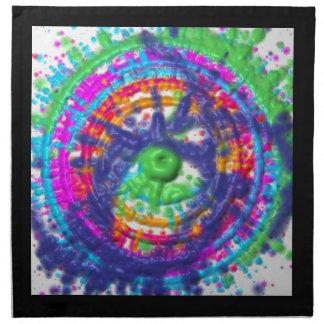 Splatter paint color wheel pattern napkin