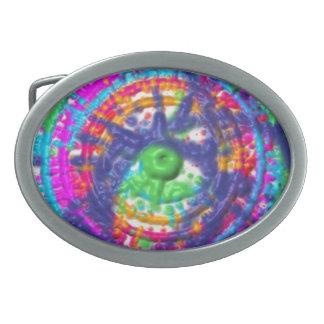 Splatter paint color wheel pattern oval belt buckle