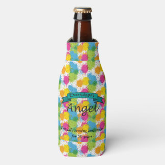 Splatter Paint Custom Logo Branded Bottle Cooler