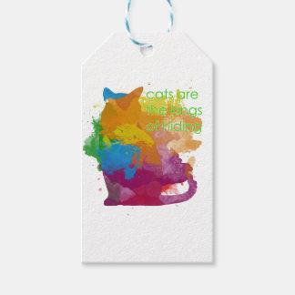 Splatter Paint Kitty Cat Gift Tags