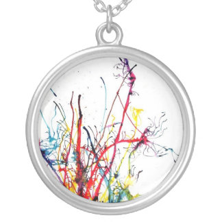Splatter Paint Neclace Silver Plated Necklace