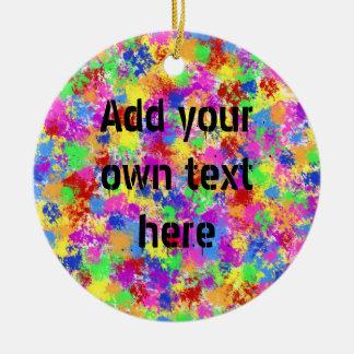 Splatter Paint Rainbow of Bright Color Background Round Ceramic Decoration