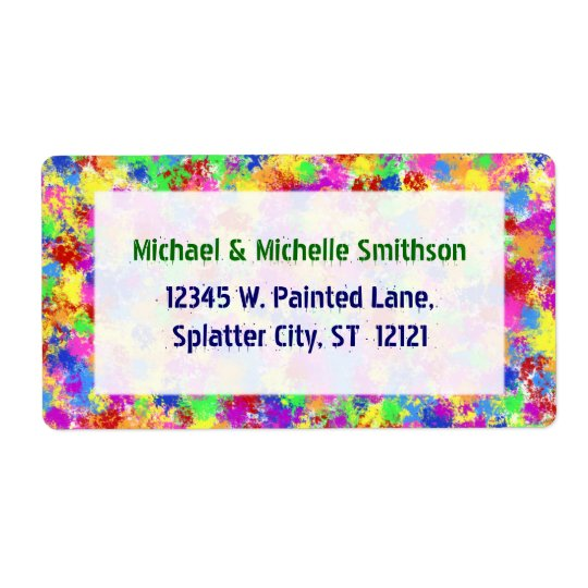 Splatter Paint Rainbow of Bright Colour Background Shipping Label