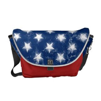 Splatter Painted American Flag Courier Bag