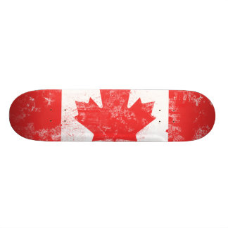 Splatter Painted Flag of Canada Skate Board Deck
