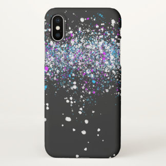 Splatter Pattern - Dark with Blue and Pink iPhone X Case