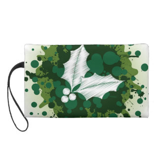 Splattered Paint Christmas Holly Design Wristlet Clutches
