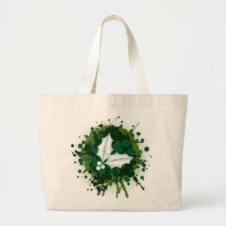 Splattered Paint Christmas Holly Design Canvas Bag