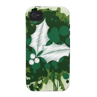 Splattered Paint Christmas Holly Design iPhone 4 Cases