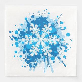 Splattered Paint Christmas Snowflake Design Paper Napkin