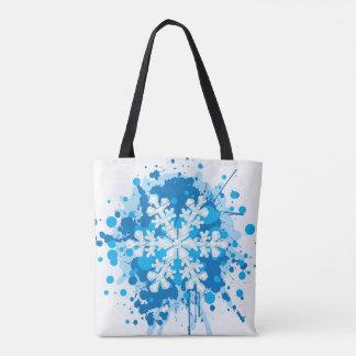 Splattered Paint Christmas Snowflake Design Tote Bag