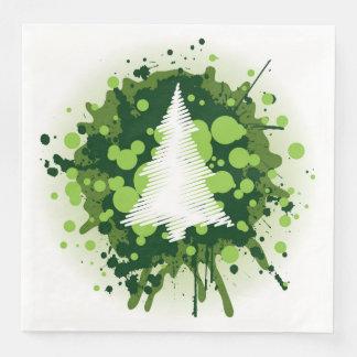Splattered Paint Christmas Tree Design Paper Napkins