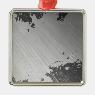 Splattered Urban Brushed Steel Silver-Colored Square Decoration
