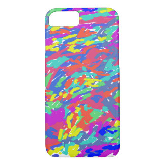 'Splattering of 80's' Abstract Digital Painting iPhone 7 Case