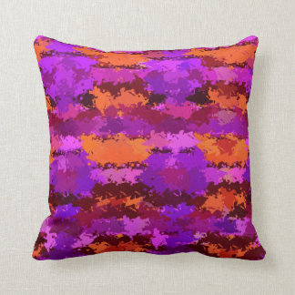 Splatters of Purple and Orange American MoJo Pillo Throw Cushions