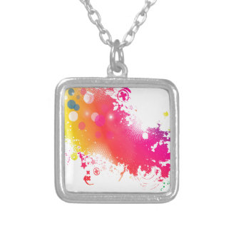 splatters silver plated necklace
