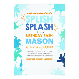 Splish Splash birthday invitation Boy