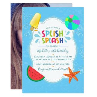 Splish Splash Birthday Party Add Photo Invitation