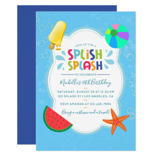 Splish Splash Birthday Party Invitation