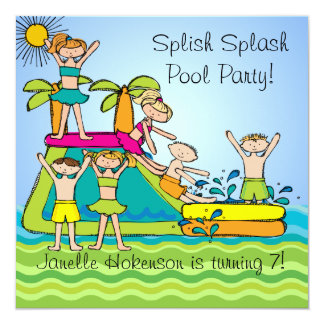 Splish Splash Pool Party Custom Swimming Birthday 13 Cm X 13 Cm Square Invitation Card