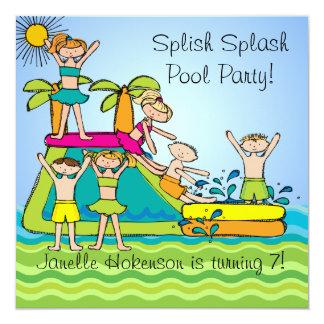 Splish Splash Pool Party Custom Swimming Birthday Card