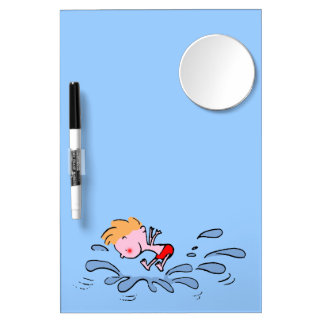 splish splash summer cartoon kid dry erase board with mirror