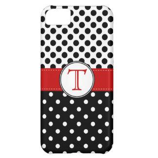 Split Black White Polka Dot RedvMonogram iPhone 5C Case